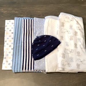 6 Baby Blankets and 1 new baby Mustache Hat!